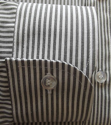 Mens black and white striped shirt DOUBLE TWO Collar size 15 1/2""
